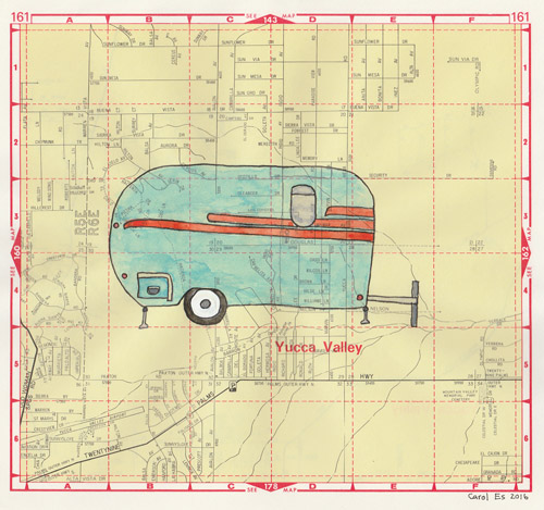 Yucca Valley Trailer 1, painting, Watercolor and ink on Thomas Bros. map page - Carol Es